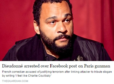 """Dieudonne M'Bala M'Bala arrested for the """"Coulibaly"""" word"""