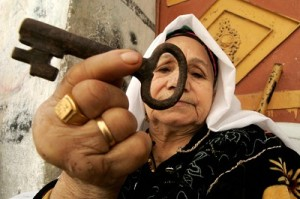 Dispossessed Palestinian woman with housedoor key